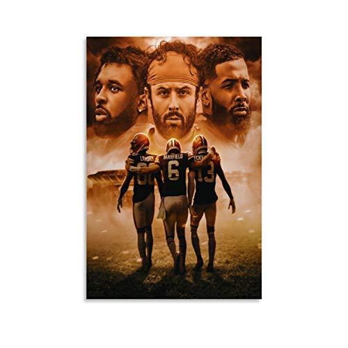 N-F-L American Football Sports Jarvis Landry, Baker Mayfield, Odell Beckham Jr, Cleveland Browns Poster, dekoratives Gemälde, Leinwand, Wandkunst, Wohnzimmer, Poster, Schlafzimmer, Gemälde, 60 x 90 cm
