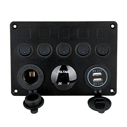 RJJX 5 Sets de Interruptor de Encendido de Apagado Panel de Control Voltímetro Dual USB Panel de combinación con protección contra fusibles Ajuste para Coche Marine RV TRU (Color : Black)