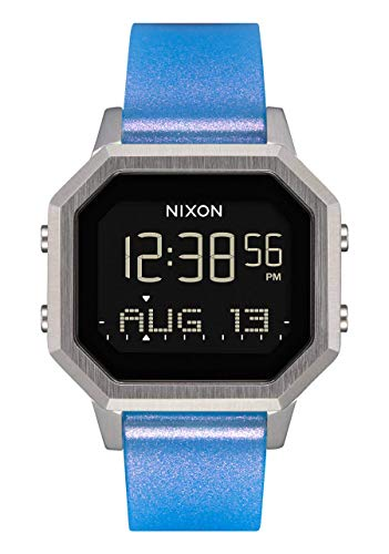 NIXON Siren SS A1211 - Silver/Iridescent - 100m Water Resistant Women's Digital Sport Watch (36mm Watch Face, 18mm-16mm Silicone Band)
