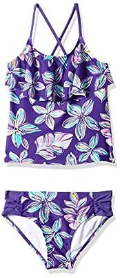 Kanu Surf Girls' Big Flounce Tankini Beach Sport 2-Piece Swimsuit, Charlotte Purple Floral, 14