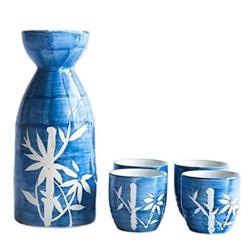 Teteras, Juego de Sake de 5 Piezas, Juego de Vino de cerámica, Juego de Sake Estilo bambú Pintado a Mano, para Sake frío/cálido/Caliente/Shochu/teteras, Familiares y amig