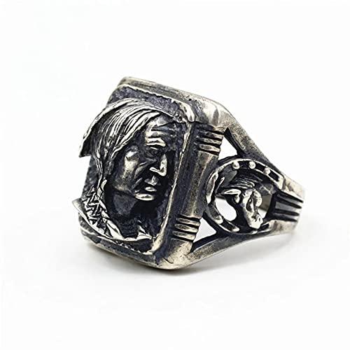 Anillo Real Pure 925 Sterling Silver Antiguo Hecho A Mano Pulido Hombres Anillo Indio Forma de Retrato Joyería de Diseño Único