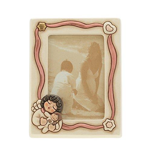 THUN - Portafoto Rosa Angel Girl - Complementi dArredo, Living - Idea Regalo - Ceramica - 14 x 19 cm