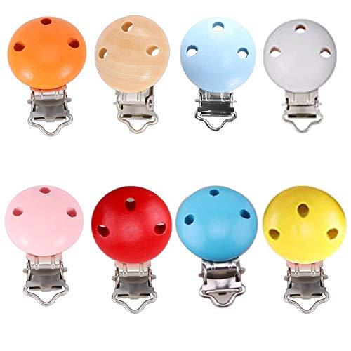8pcs pinzas Chupete Bebe Clips Cadenas para Chupetes Clip Chupetero Madera Natural Pinza Chupetero Personalizado para Niños Niñas (8 colors)