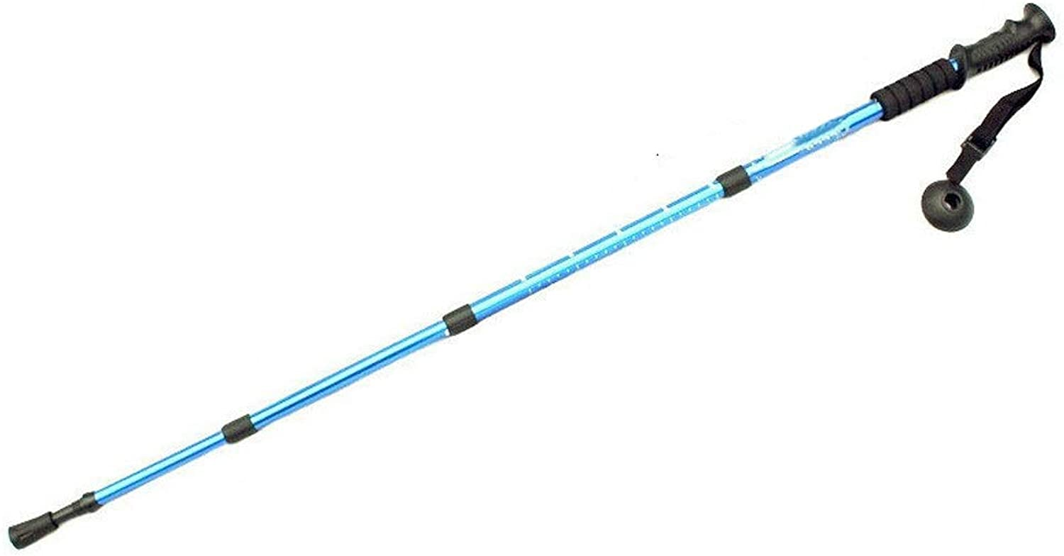 Rpzzy Trekking Pole Outdoor Ultralight Carbon 34 Knots Cane Crutch Aluminum Alloy Telescopic Damping Straight Shank Old Man On Foot Stick 3 Knots bluee