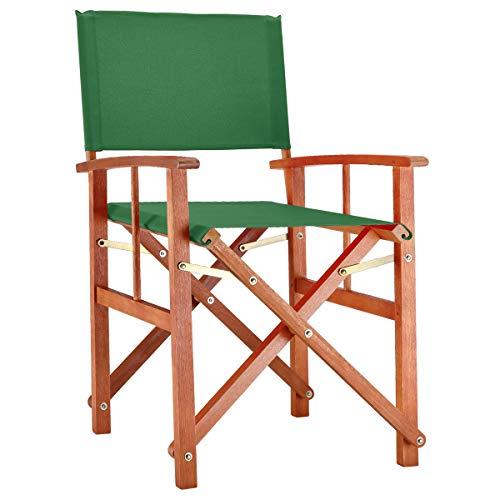 Deuba - Chaise de Jardin « Cannes » - Vert - Pliable - Bois d'eucalyptus certifié FSC - pré-huilé - Design régisseur - Fauteuil