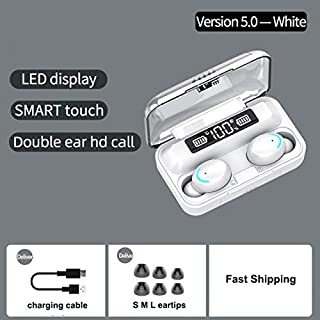 FairOnly F9-5 Blueteeth Earphones 5.0 Wireless Headphone 8D Bass Stereo In-ear Earbuds Handsfree Headset Built-in Microphone with 2000mAh Charging Case white Electronics