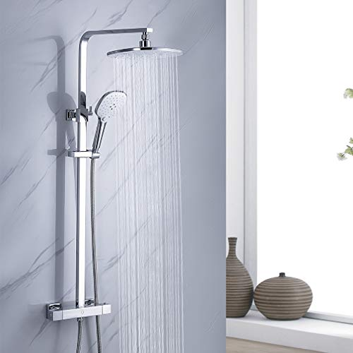 CECIPA Duschsystem mit Thermostat Regenduschset, 2 Funktionen mit Überkopfdusche 24x24cm Eckig und 3-Fach Verstellbare Handbrause, Duschset inkl 80-120 CM Verstellbare Duschstange für Badzimmer