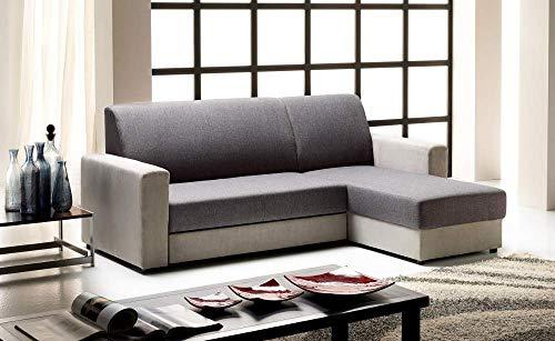 Germanvox - Salón esquinero con chaise longue reversible y cama extraíble con carrito, revestido de tela gris claro y oscuro Cat.Extra L.225 P.158 H.88 cm