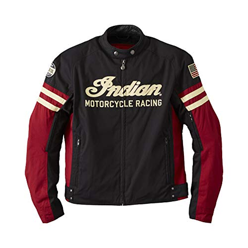 Indian Motorcycle Men's Textile Flat Track Racing Riding Jacket with Removable Lining, Black/Red - 2XL