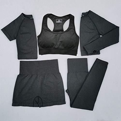 GUOJIAYI 5 Piece Women's Seamless Yoga Suit Workout Sportswear Gym Apparel Short/Long Sleeves High Waist Leggings Sports Suit