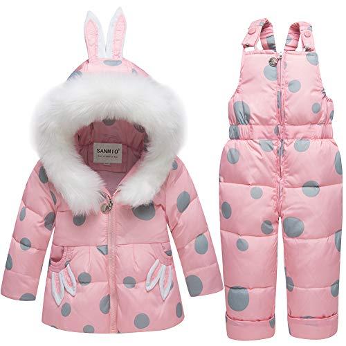 SANMIO 2 Piezas Niños Traje de Esquí Conjunto de Nieve para Bebé Infantil Niña Invierno Cálido Chaqueta Abajo con Patrón de Puntos Capucha y Pantalones