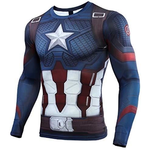 Camiseta de compresión para disfraz de superhéroe de manga larga