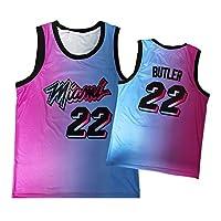 メンズバスケットボールジャージ、Heǎt 22# Bǔtler 2021最新グラデーションジャージー、2020ピンク/ブルー/ブラックシティエディションジャージー、刺繍トップススウェットシャツ Blue and pink-M