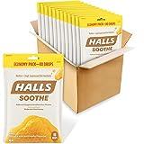 HALLS Soothe Honey Flavor Cough Drops, Economy Pack, 12 Bags (960 Total Drops)