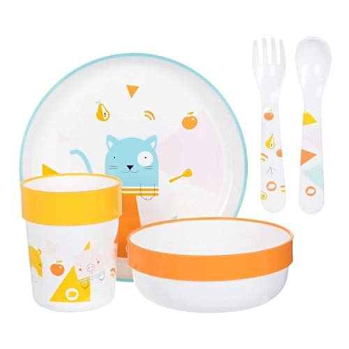 Bébé Confort - Set de comida, plato, cuenco y cristal y cubiertos de plástico Domino