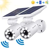 Motion Sensor Solar Lights Outdoor - 800Lumens Spotlight Solar Security Lights IP66 Waterproof, Wireless Solar Flood Light for Porch Garden Patio Driveway Pathway, Aluminum, 2-Pack (White)