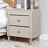SogesHome Foldable Tufted Linen Large Storage Ottoman Bench