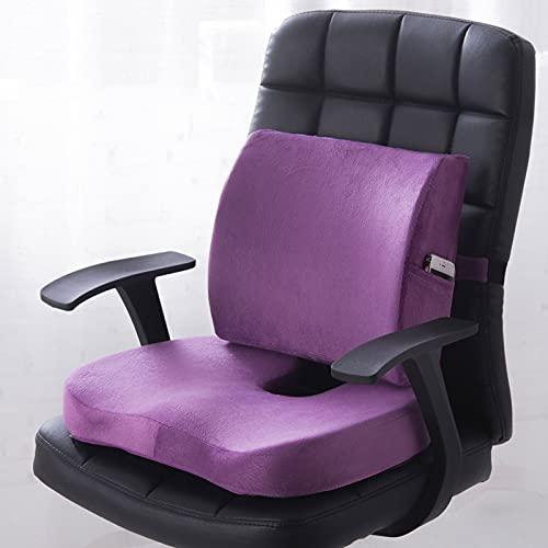 cojines para sillas Cojín de asiento de lujo y almohada de soporte lumbar, almohadilla ORTHOPEDIC COCICEX, remesa, cadera, colofón, dolor de la ciática ( Color : Purple , Size : Cooling Gel Layer )