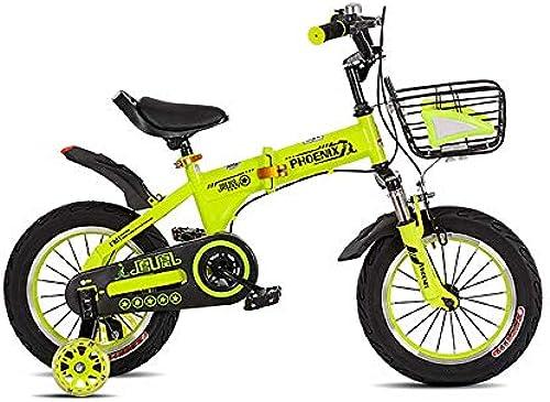 Kids Faltbares fürrad Girls & Boys, Basket & Training R r für 12 & 14 & 16 & 18 Zoll fürr r, Outdoor Balance fürrad, 2-12 Jahre altes Kind, gelb (Größe   16'')