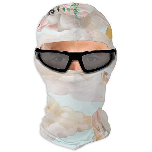 N/Een Full Face Masker Gouden Aquarel Eenhoorn Prinses Pegasus Hood Zonnebrandcrème Masker Dubbele Laag Koud Voor Mannen En Vrouwen