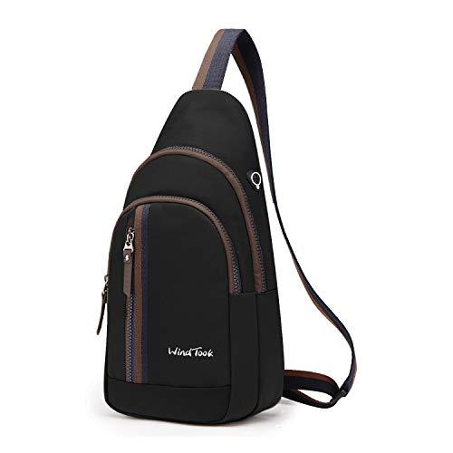 Wind Took Schultertasche Brusttasche Crossover Taschen Messenger Bag Sling Rucksack Umhängetasche Sporttasche Freizeit Daypack für Herren Damen, Schwarz