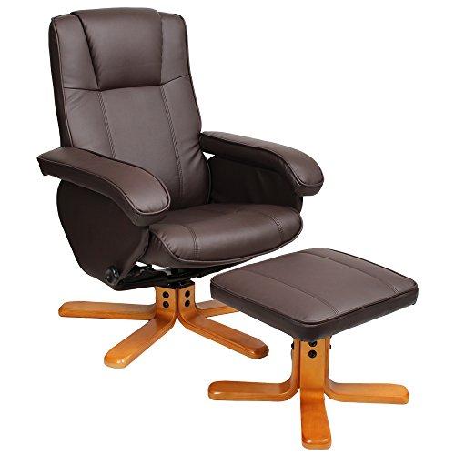 SVITA Charles Relaxsessel TV Sessel Wohnzimmersessel Hocker Beinablage Fernsehsessel Drehstuhl (Braun)