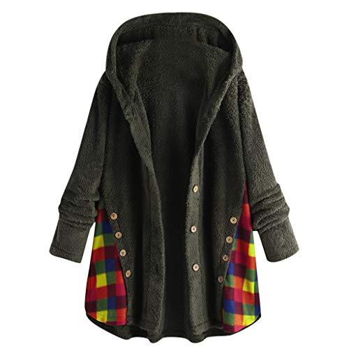 QingJiu Damen Fleece Warmer Kapuzenmantel Langarm Tasche Strickjacke Jacke Knopf Gitter Sweatshirt Tops