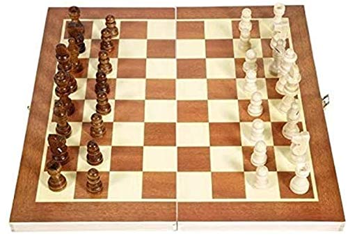 Mirui Conjunto de ajedrez de Madera magnético Plegable, Tablero de ajedrez de Madera portátil, Juego de ajedrez Plegable, ajedrez Internacional para Actividades Familiares