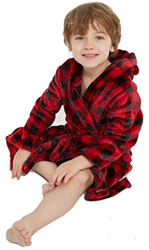 Children's Bathrobe Boys Girls Hoodie Robes Toddler Soft Pajamas Sleepwear Red Plaid 2-3 Years