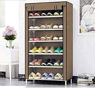 PHILOSHOP Multipurpose Metal Collapsible Shoe/Wardrobe Rack with Cover 6 Layer (Beige)