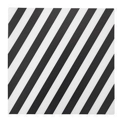 Unbekannt Ikea Pipig - Mantel individual (37 x 37 cm, polipropileno fácil de cuidar), diseño de rayas, color blanco y negro