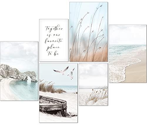 artpin® Moderno juego de pósteres – Cuadros para salón o dormitorio – Pampas hierba caña beige menta pared sin marco (4 x A3 | 2 x A4) W12
