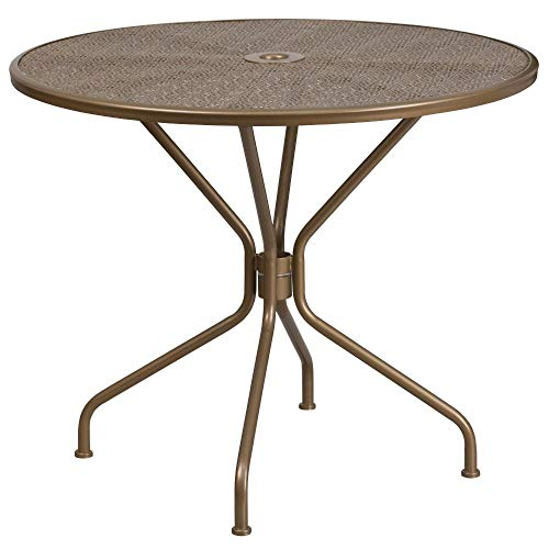Flash Furniture Commercial Grade 35.25' Round Gold Indoor-Outdoor Steel Patio Table