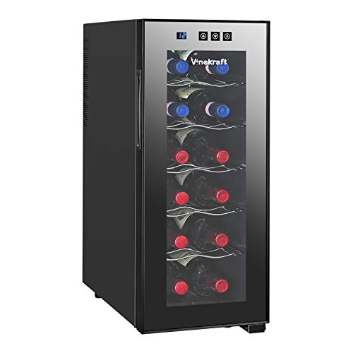 Vinekraft 12 Bottle Wine Cooler Wine Chiller Single Zone FreestandingThermoelectric Wine Cooler Touch Scree Wine Refrigerator for Chilled Drinks
