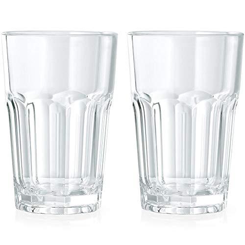 Viva Haushaltswaren 2 unzerbrechliche Latte Macchiato Gläser aus hochwertigem Kunststoff (Polycarbonat) ca. 300 ml-stapelbar Vasos, 7.5 x 7.5 x 11.0 cm, 2 Unidades