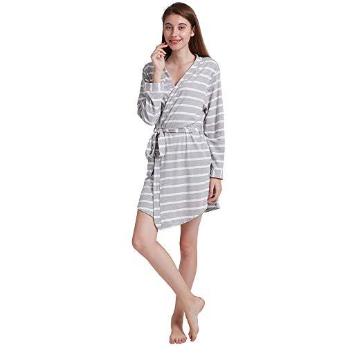 ENIDMIL Bademäntel Damen - Morgenmäntel Baumwolle Nachtwäsche Kimono Kurz (Grauen Streifen, M)