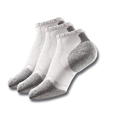 Thorlos Experia XCCU Thin Cushion Running Low Cut Socks, White (3 Pair Pack), Medium