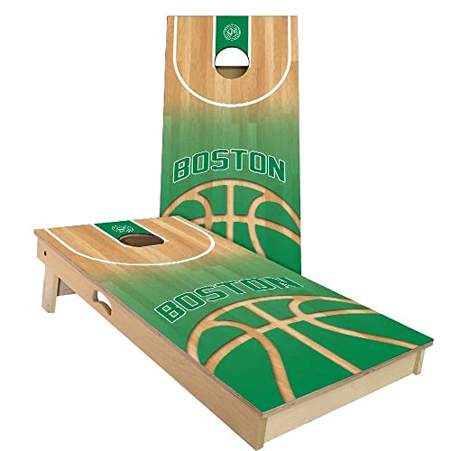 Skip's Garage Boston Themed Basketball Cornhole Board Set - Premium 2x4 (24' by 48') - Includes (2) Boards, (8) Corn Filled Bags, (1) Carrying Case and (2) Board Hole Lights