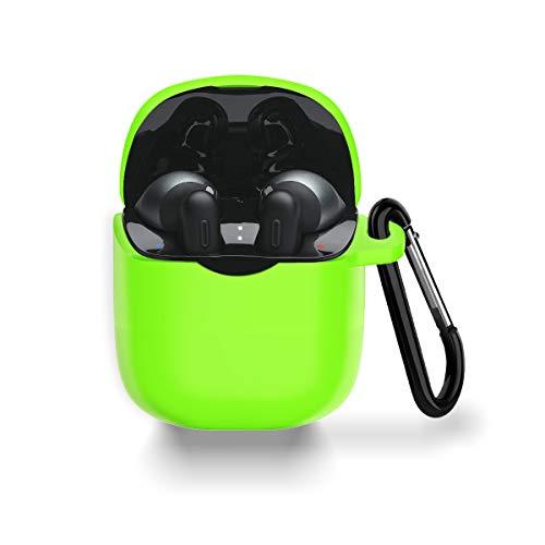 Schutzhülle für JBL Tune 225/220TWS, WQNIDE Silikon-Schutzhülle mit Karabiner, kratzfest & stoßfest, für JBL Tune 225TWS True Wireless Earbud-Kopfhörer (leuchtendes grün)