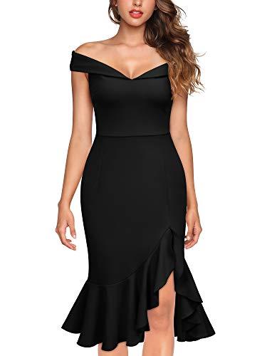 Knitee Women's Vintage Off Shoulder V-Neck Evening Party Cocktail Ruffles Slit Formal Dress Black