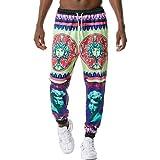 Huntrly Pantalones Casuales para Hombre Personalidad de Moda 3D Impresión Retro Cordón Cintura elástica Pantalones para Correr Varios Estilos de Pantalones Casuales de Moda L