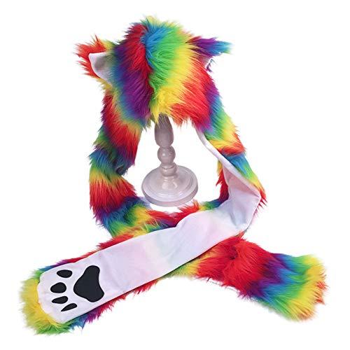 Desconocido Moregirl - Sudadera con Capucha de Animales con diseño de arcoíris para Mujer, Orejas de Felpa, Patas, 3 en 1, Gorra, Bufanda, Guantes