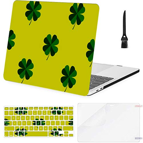 MacBook Pro Case Four Leaf Clover Seamless Vector Pattern MacBook Pro 15'(NO CD-ROM,2016-2018 Ver) A1707/A1990 Plastic Case Keyboard Cover & Screen Pr