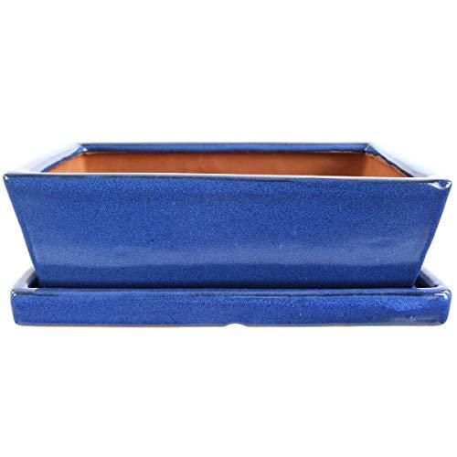 Bonsaischale mit Untersetzer 25.5x19x8cm Blau Rechteckig Glasiert