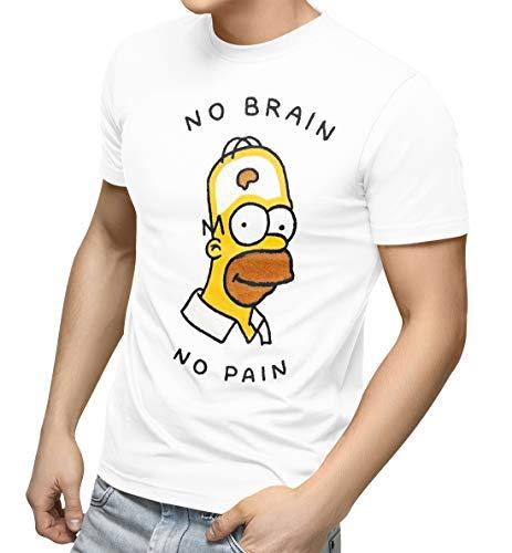 No Brain No Pain Homer Tshirt Art Relax Chill Funny Logo -L