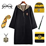 FStory&Winyee - Disfraz de Harry Potter para niños y Adultos, Capa Unisex Gryffindor Hufflepuff Ravenclaw Slytherin, artículo para Fans de Halloween o Carnaval Amarillo S