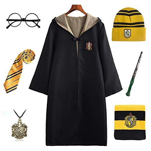 FStory&Winyee Harry Potter Kostüm Kinder Erwachsene Unisex Umhang Gryffindor Hufflepuff Ravenclaw Slytherin Fanartikel Halloween Fasching Cosplay Outfit Set Zubehör
