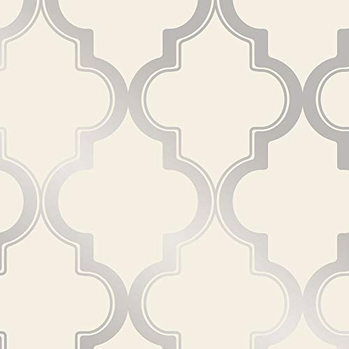 Tempaper MA10634 Marrakesh Removable Peel and Stick Wallpaper, 28 sq. ft, Cream & Metallic Silver