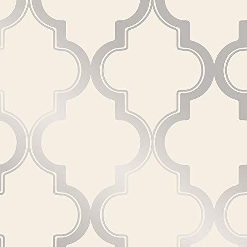 Tempaper MA10634 Marrakesh Removable Peel and Stick Wallpaper, Cream and Metallic Silver